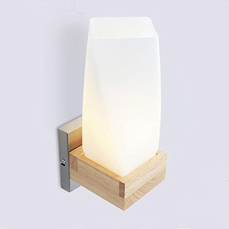 Wandleuchte Wandlampe E27 Einfache Massivholz Glas Wandleuchte Korridor Balkon Wand Gummi Holz Schlafzimmer Nachttischlampe Dekoration Lampe