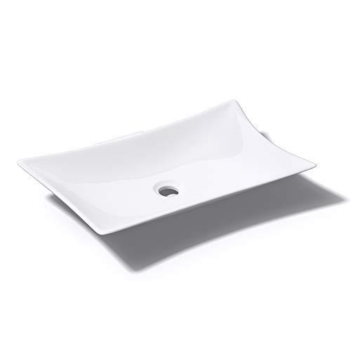 Mai & Mai Aufsatzwaschbecken Brüssel891 inkl. NANO-Beschichtung Lotus-Effekt BTH: 56,5x37,5x10cm, in weiß aus Keramik, eckige Form