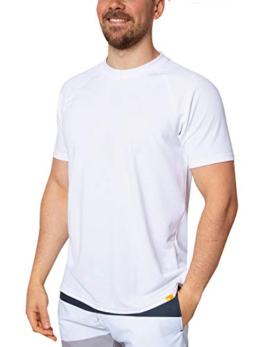 iQ-UV Herren 50+ Sonnenschutz mit V-Ausschnitt, Regular geschnitten Uv T-Shirt, White, 3XL/58