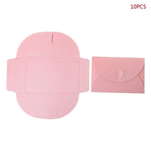 10pcs Mini Papierumschläge, Retro Herz-Haken-Entwurf for Hochzeit Einladungsbrief Karten, Multi-Colores (Color : Pink)