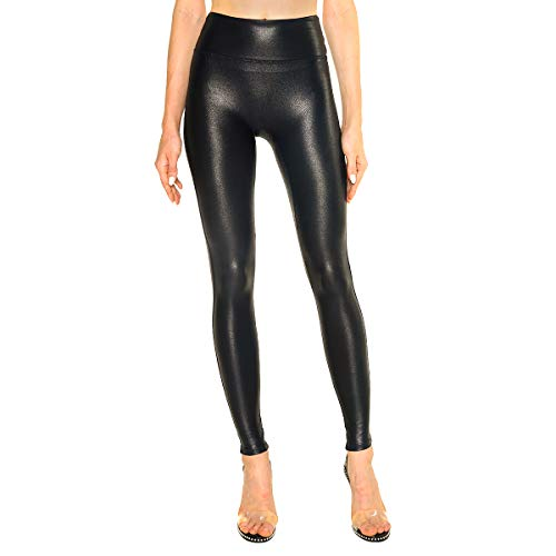 Tagoo Womens Faux Leather Leggings Stretch High Waisted Pleather Pants Black