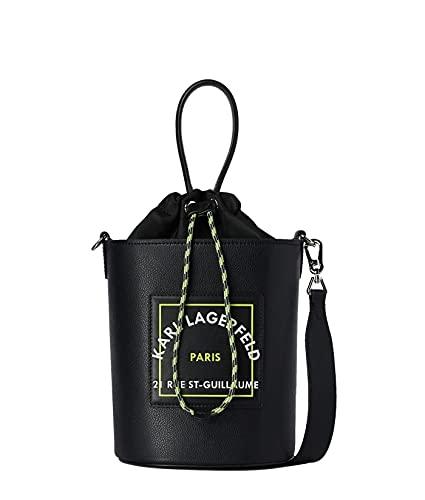 Karl Lagerfeld Bolso Para Mujer Tipo Saco De Piel Y Nailon Rue St.Guillaume Modelo 215W3072 Color Negro (A999 Black).