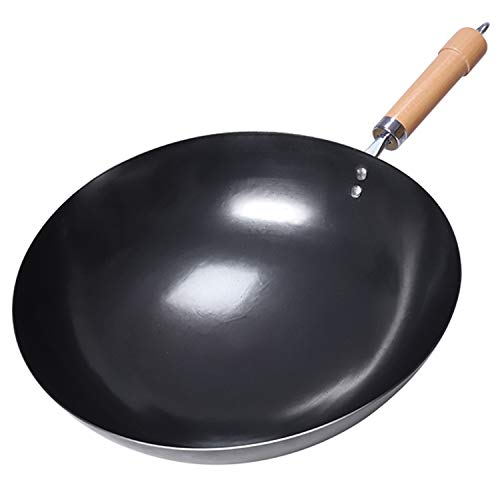 Wok ligero de hierro martillado a mano y sartén de revuelva con mango de madera, 12.6 pulgadas, sin revestimiento, sin pintura menos aceite menos humo Wok Pan