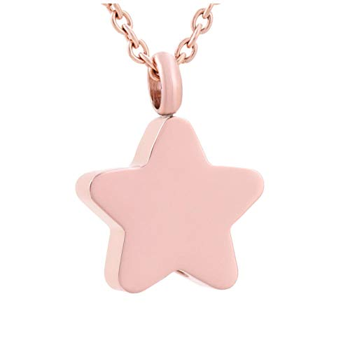 GenericBrands Collar con Colgante de urna de joyería de cremación roja de Mariposa con Encanto de Acero Inoxidable de Estrella pequeña de Color para Mujer
