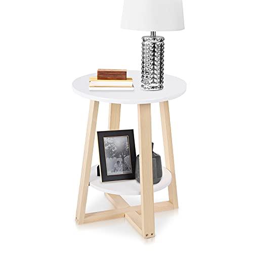 mesa auxiliar redonda de madera