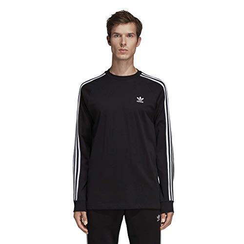 adidas Originals Men's 3-Stripes Long Sleeve T-Shirt, black, Large