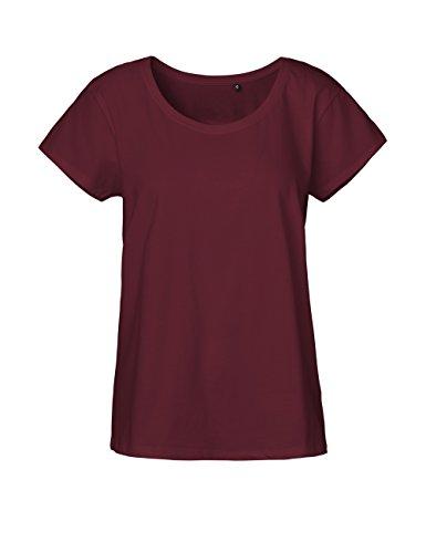 Green Cat Ladies Loose Fit T-Shirt, 100% Bio-Baumwolle. Fairtrade, Oeko-Tex und Ecolabel Zertifiziert, Textilfarbe: Bordeaux, Gr.: M