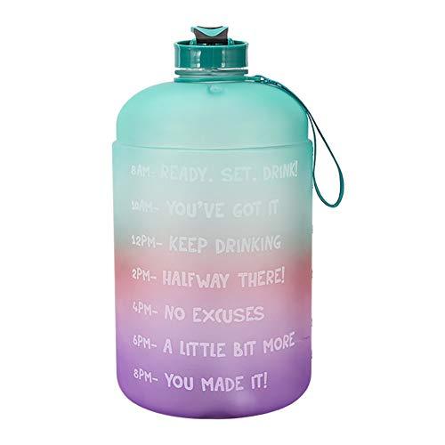 longchun east Botella De Agua Deportiva De Gran Volumen De 1 GalóN, Botella De Agua Colorida, Botella De Agua Elegante con Pajita Y Marcador De Tiempo, para La Escuela, 3,81 L