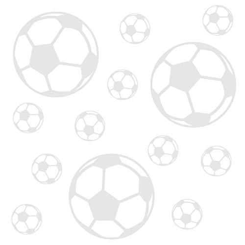 kleb-Drauf | 13 Fußbälle | Weiß - matt | Wandtattoo Wandaufkleber Wandsticker Aufkleber Sticker | Wohnzimmer Schlafzimmer Kinderzimmer Küche Bad | Deko Wände Glas Fenster Tür Fliese