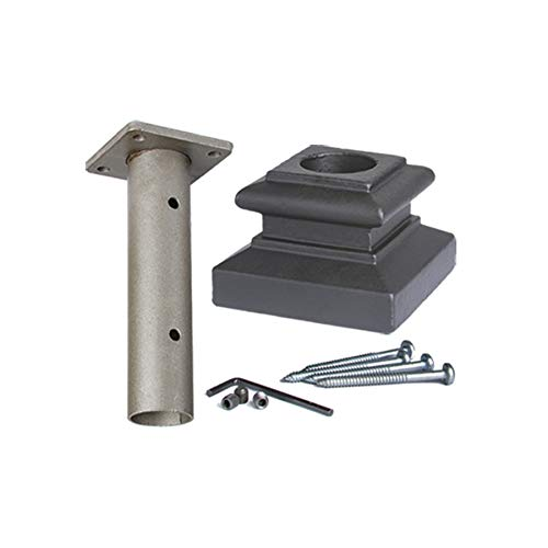 Satin Black 16.3.14 Newel Mounting Kit for 1-3/16 inch Round Iron Newel Posts for Stair Remodeling