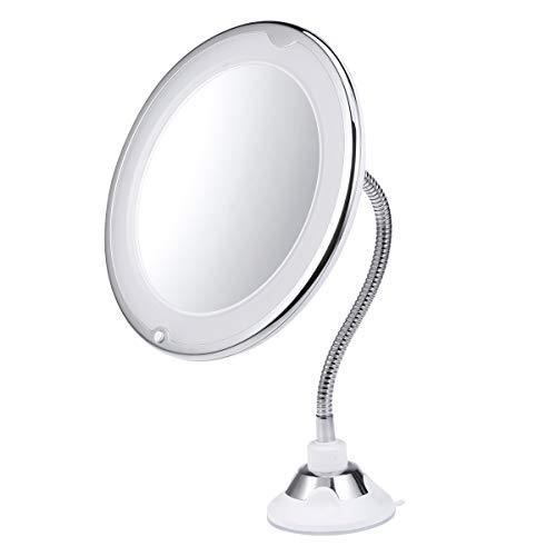 Lurrose 10X grossissant LED Miroir cosmétique Miroir Tube Compact Miroir de Table Rond Maquillage Miroir avec Ventouse sans Batterie pour Maquillage