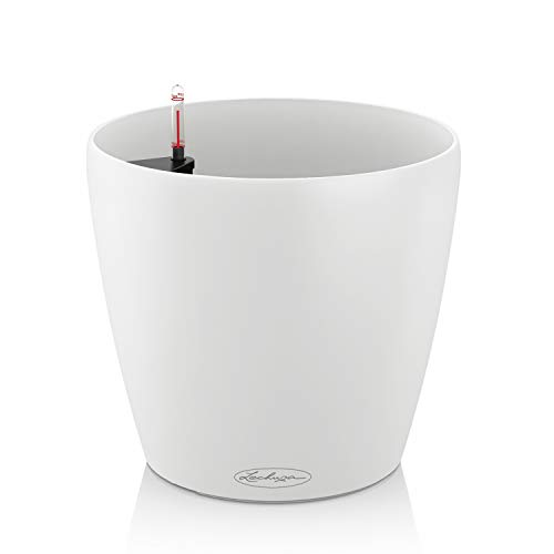 LECHUZA CLASSICO Color 35, Weiß, Hochwertiger Kunststoff, Inkl. Bewässerungssystem, Für Innen- und Außenbereich, 13210