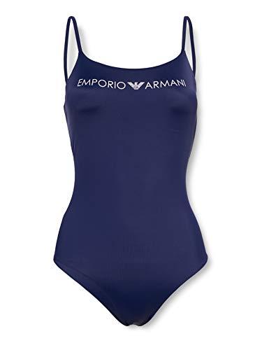 Emporio Armani Swimwear Damen Swimsuit Beachwear Logo Lover Badeanzug, Blau (Blu Indaco 15434), 36 (Herstellergröße: S)