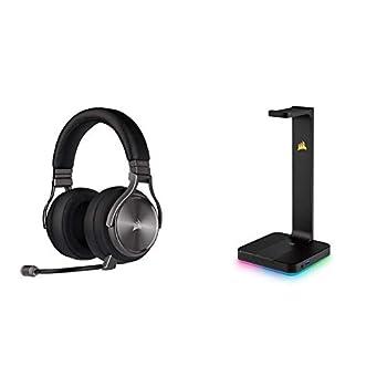 Corsair Virtuoso RGB Wireless SE Gaming Headset - Gunmetal & ST100 RGB Premium Headset Stand with 7.1 Surround Sound - 3.5mm and 2xUSB 3.0