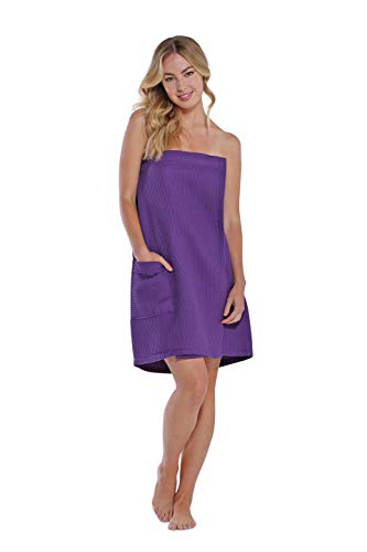 Lightweight Knee Length Spa/Bath Waffle Body Wrap with Adjustable Touch Fastener (Large, Purple)
