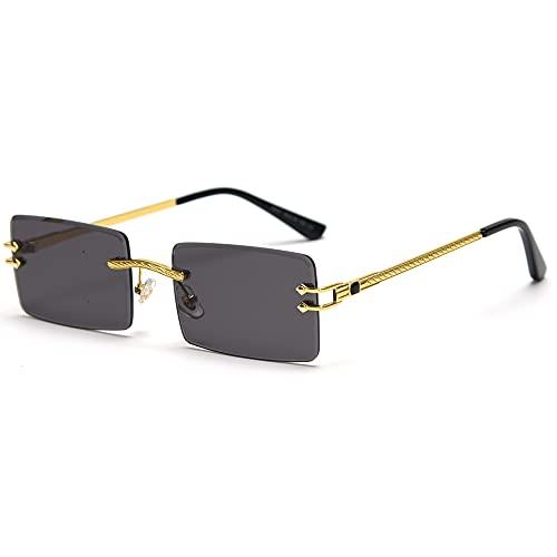 LIGOES Gafas de sol rectangulares sin montura verde azul cristal espejo gafas de sol mujer Uv400 Retro Hombre Sombras tintadas, dorado con negro,