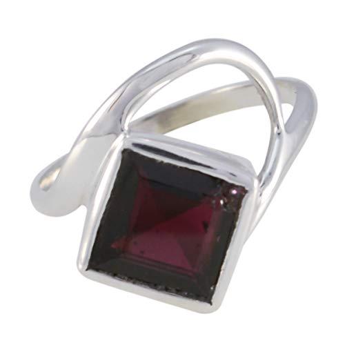 joyas plata echte edelsteine srgarfc-6101.jpg ein stein facettierte granatringe - massiver silberner roter granatring - januar geburt steinbock astrologie echte edelsteine ring