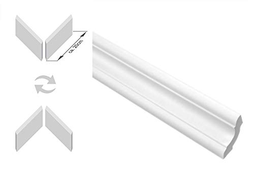 Zierleisten Sparpaket E-24-NK | inkl. vorgefertigte Ecken | leicht und stabil | extrudiertes Styropor | Stuckprofile | modern weiß | dekorativ | XPS | 29 x 29 mm | 20 Meter + 4 Ecken