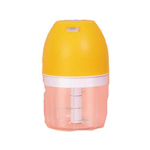 Ttiy Mini picador de alimentos eléctrico picador de ajo USB Procesador de carne de alimentos Batidoras de cebolla Grinder Slicer Herramienta de cocina 280 ml (amarillo)