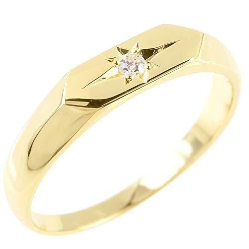 [アトラス]Atrus リング レディース 10金 イエローゴールドk10 一粒 ダイヤモンド 印台 指輪 トレジャーハンター 22号