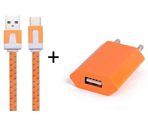 Shot Case Cargador Adaptador USB para LG K104G Smartphones/Tablet Naranja