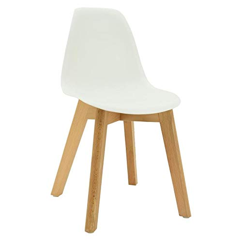 Chaise enfant scandinave blanche pieds en bois
