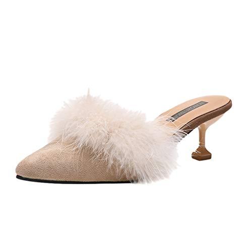 FRAUIT Ciabatte Donna Con Pelo Invernali Pantofole Ragazza Invernale Alte Scarpe Eleganti Con Tacco Chiuse Da Cerimonia Matrimonio Scarpe Elegante Con Tacco A Spillo Inverno Autunno