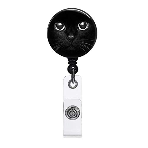 Cool Cat Black Badge Reel Retractable Name Badge Holder with Alligator Clip Easy to Use