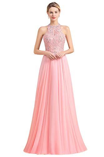 MisShow Brautjungfernkleider Lang Altrosa A Linie Elegant Hochzeit Hochzeitskleid Damen