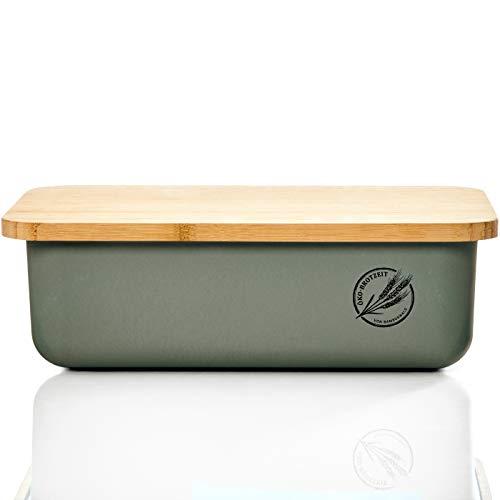 bambuswald© ökologischer Brotkasten mit Brot-Schneidebrett aus 100% Bambus | Brotbox für langanhaltende...