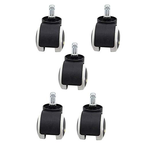 GINVF Slipstick 2 Pouces Sol Protection Chaise de Bureau en Caoutchouc roulettes (Set 5) Taille Standard Stem - Noir/Blanc (Color : Insert wire)