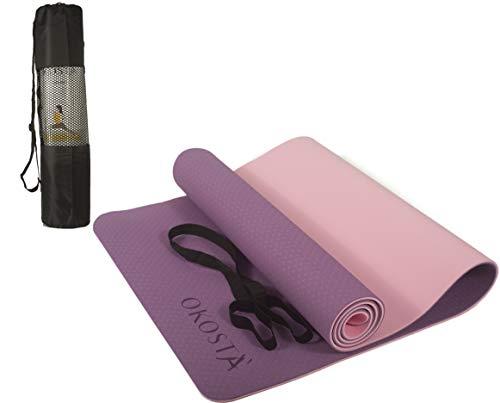 OKOSTÀ Esterilla de Yoga, Pilates y Fitness Antideslizante con Correa y Bolsa 183cm x 61cm x 0,6cm Morado