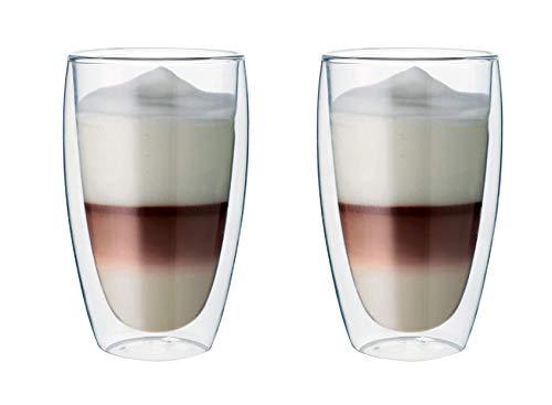 Maxxo Doppelwandige Gläser Latte Macchiato Set 2X 380 ML Kaffee Thermogläser...
