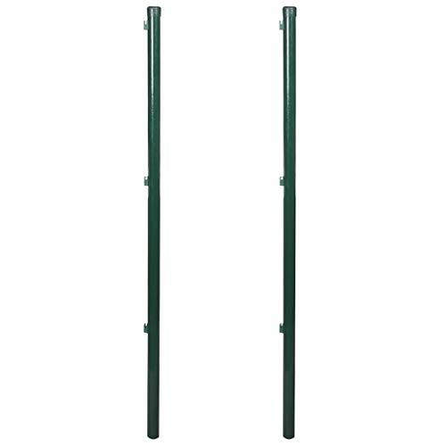 vidaXL 2x Zaunpfosten 200cm Zaunpfahl Pfosten für Maschendrahtzaun Drahtzaun