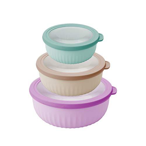 Pedrini 04GD207 Set 3 contenitori Ciotole Ermetici con Coperchio per frigo microonde Freezer Lunchbox, Colori Assortiti, Bassi, Plastica