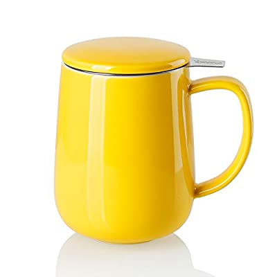 Sweese 204.105 Porcelain Tea Mug with Infuser and Lid, 20 OZ, Yellow