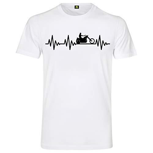 Herzschlag Chopper T-Shirt | EKG | Motorrad | Motorcycle | Bike | Show | Street Weiss 2XL