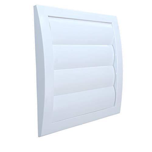 Rejilla de ventilación con láminas móviles tipo persiana. Plástico acrionitrilo butadieno estireno VCD, Blanco, Conexión Ø125mm.
