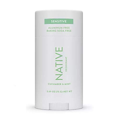 Native Deodorant - Natural Deodorant for Women and Men - Baking Soda Free - Gluten Free, Cruelty Free - Contains Probiotics - Aluminum Free & Paraben Free, Naturally Derived Ingredients - Cucumber & Mint (Sensitive Formula)