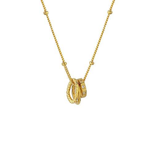 Mode Drei-Ring goldene Halskette Temperament Luxus Schlüsselbein Kette einfachen Schmuck