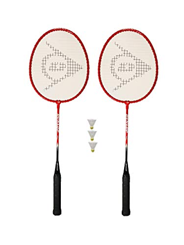 Dunlop NanoMax Pro Badmintonschläger, Rot, 2 Stück + 3 Federbälle