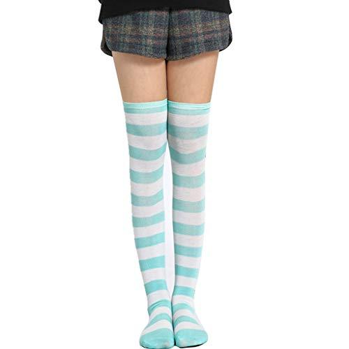 JOYKK Vrouwen Meisjes Gebreide Cosplay Lange Sokken Contrast Kleur Strepen Over Knie Dij Hoge Stocking Fancy Jurk Halloween Party Kostuum