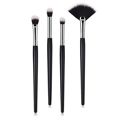Tacey 4pcs Petites brosses de Maquillage des Sourcils Noires avec Manche en Bois pour Femmes Filles