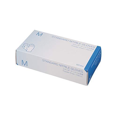 使い捨て手袋 ニトリルグローブ ホワイト 粉なし 100枚入り 病院採用商品 マツヨシ(松吉医科器械) (M, 新パッケージ)