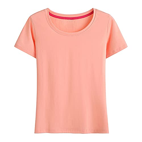 Slim Simple de Media Manga Lindo Cuello Redondo Camisa Casual de Fondo de Manga Corta para Mujer Camiseta de Verano para Mujer