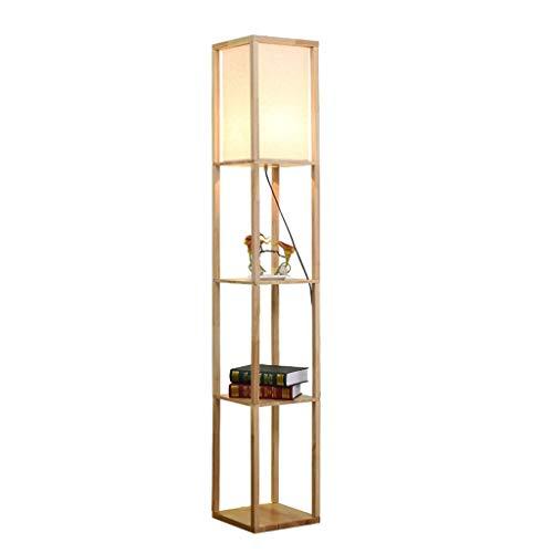 QTDH Moderne led-vloerlamp met planken, houten planken, voor het opbergen van lezen, rechts op de voet nachtlampje