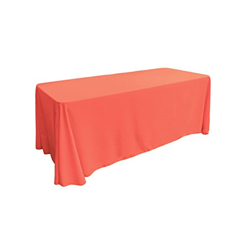 LA Linen Polyester Poplin Rectangular Tablecloth, 90 by 132-Inch, Coral