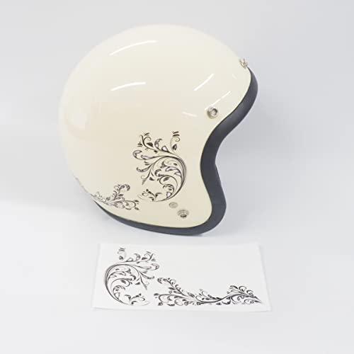 マニアックコレクション(maniac collection)ヘルメット汎用 透明 リーフステッカー 左右セット デカール おしゃれ かわいい デコ キズ隠し ステッカーチューン シール ドレスアップ