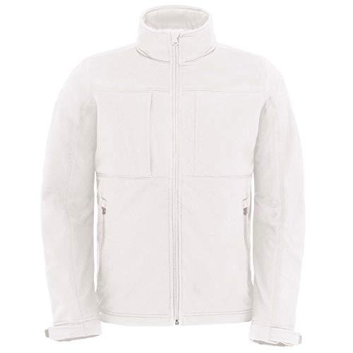 B&C Herren Softshell-Jacke mit Kapuze, Fleece-Innenfutter, atmungsaktiv, wasserabweisend, Winddicht (3XL) (Weiß)