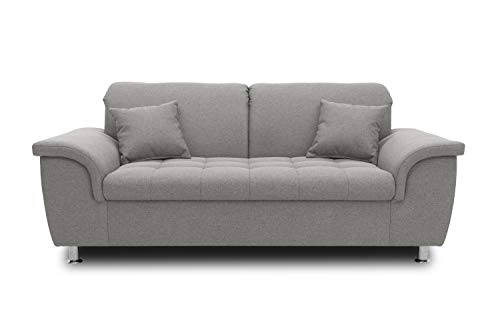 DOMO. collection Franzi Sofa, 2-Sitzer Couch, 2er Garnitur mit Nackenfunktion, Polstergarnitur, grau, 190x105x81 cm